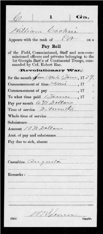 Military Record Service Card for William Cooksee
