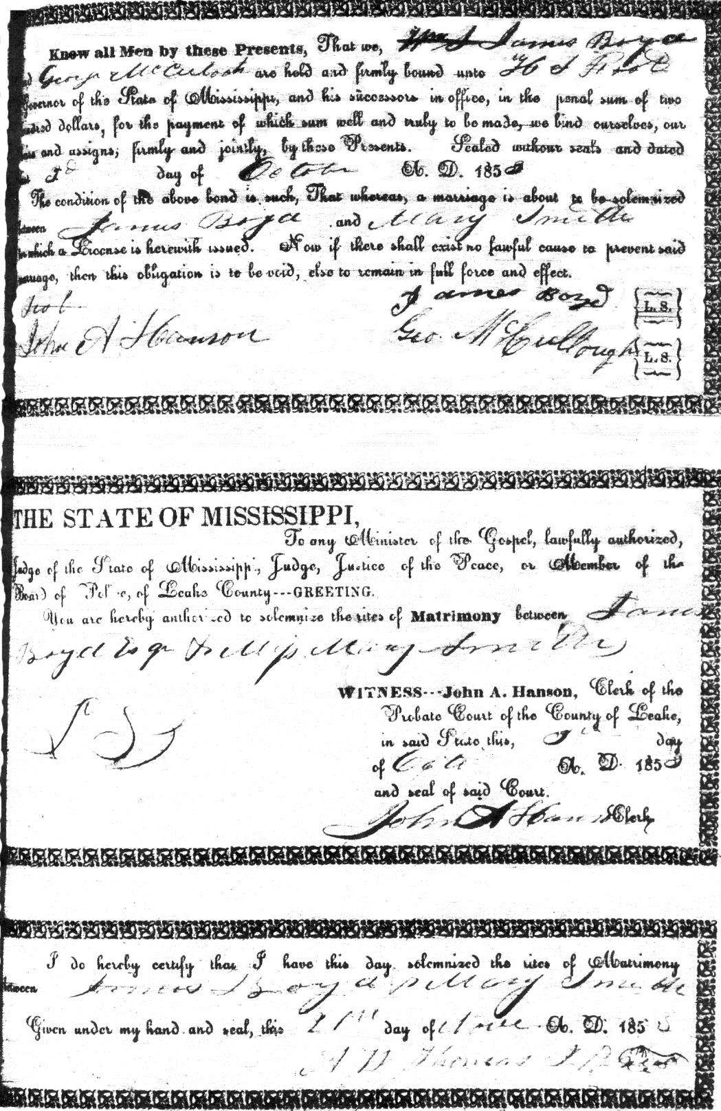 James Boyd & Mary Smith Marriage record