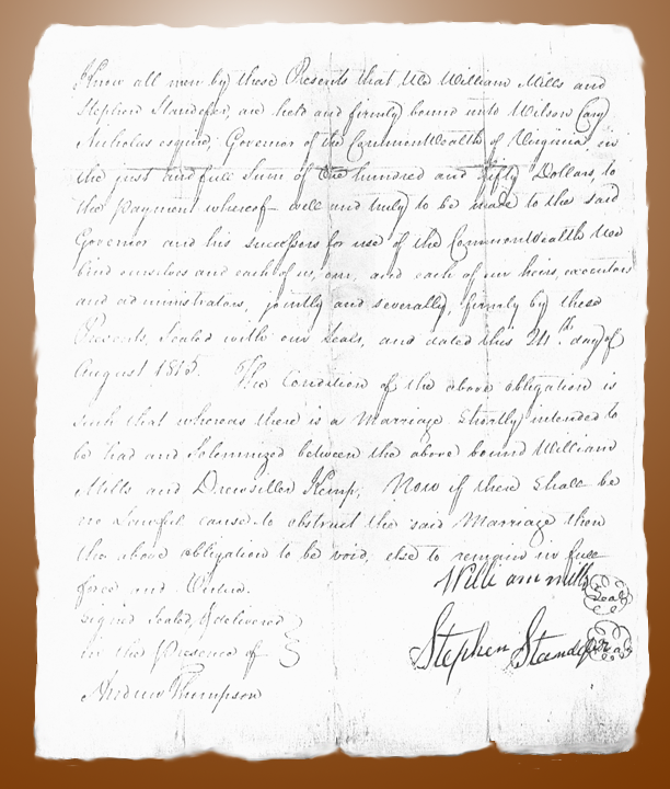 Mills-Kemp Marriage Bond original